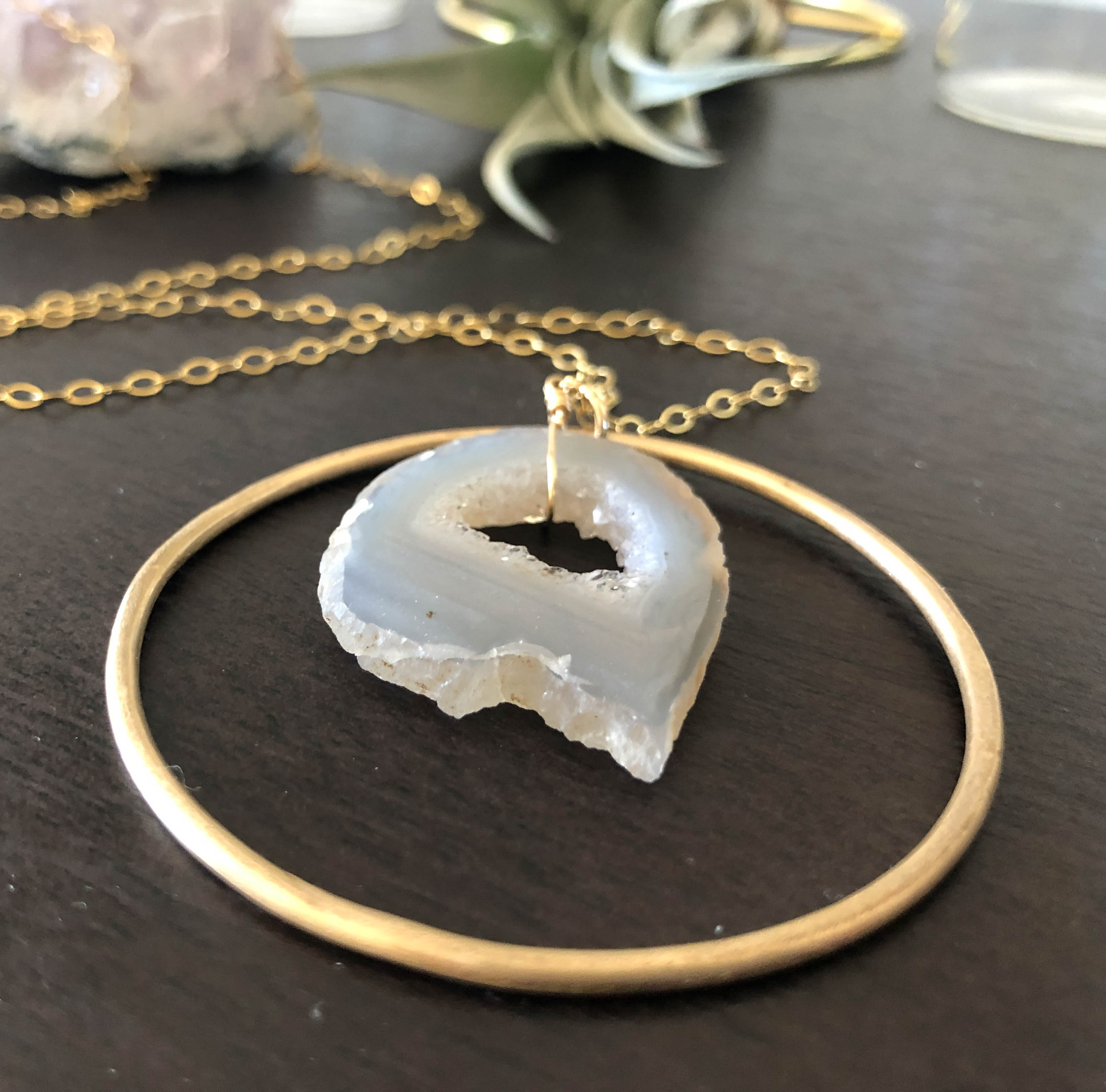 Large Pink Agate Slice Necklace Druzy Crystal Geode Slice Pendant XL Gold Drusy Stone Healing Crystals and Stones Jumbo Jewelry